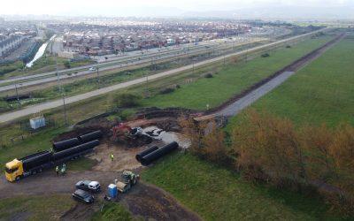 Construcción de caminos de obra en sector A y obras provisorias para la ejecución del proyecto